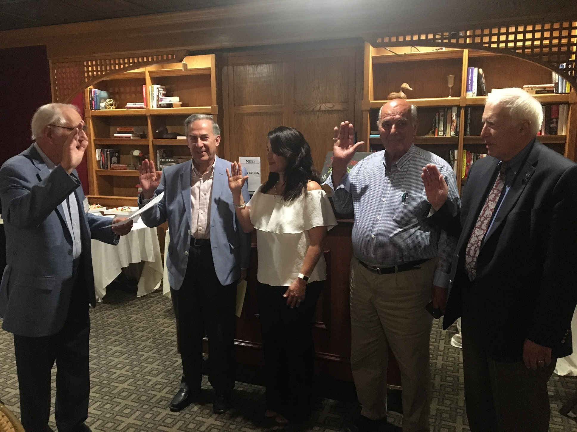 New members taking the oath by the Commander, Gus Plagianis at the June 9, 2018 meeting.